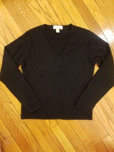 Mainbocher 100% Cashmere Black V Neck Sweater M