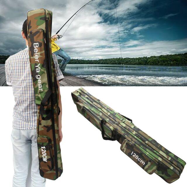120CM Fishing Rod Travel Camouflage Carp Tackle Bag Case Padded Luggage Holdall