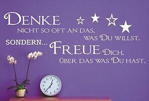 Wandtattoo Spruch / Denke willst was Du hast Wandsticker Wandaufkleber Sticker 1