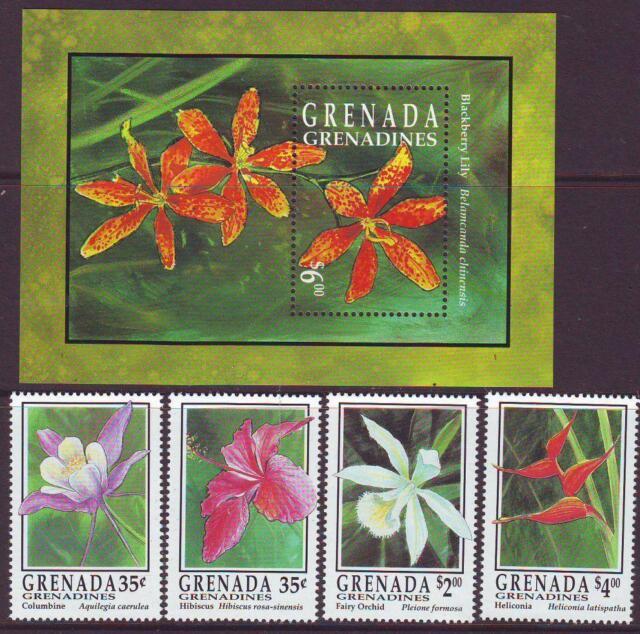GRENADA GRENADINES 1993 FLOWERS SET 4 + MINISHEET  MINT NEVERHINGED