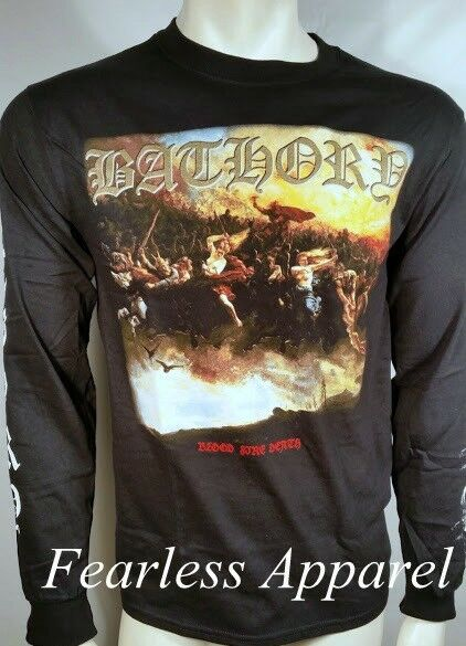 65c02e4b576 Authentic Bathory Blood Fire Death Black Metal Long Sleeve T-shirt S-xl M  for sale online