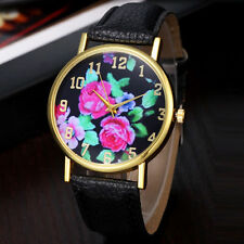 Hot Geneva Luxury Gold Black Leather Stainless Women Quartz Dress Fashion Watch