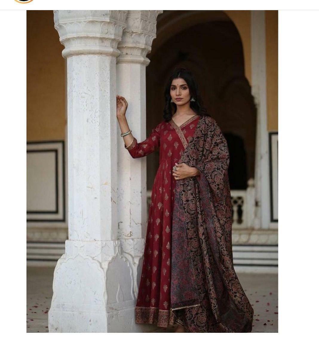 Eid Indian Ethnic Anarkali Kurta Printed Beautiful Bollywood Gown Kurti Dupatta