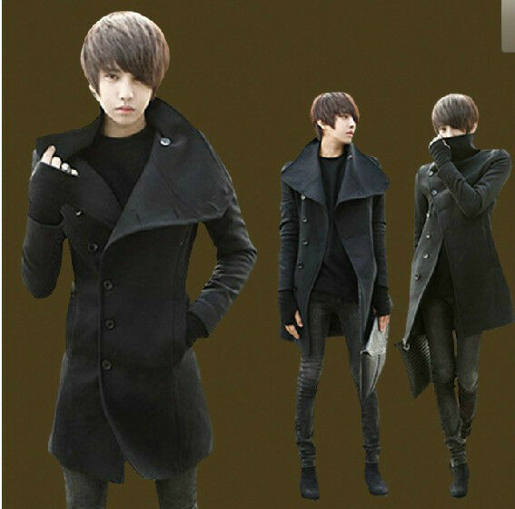 2014 New Men's Casual Coat Korean Slim Fit Woolen Coat Jacket And Long Sections