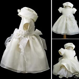 Hat 0-36M New Baby Toddler Girl Pageant Wedding Christening Formal Ivory Dress