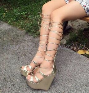 Womens Gladiator Metal Roman Sandals Knee High Boots Hollow Out Flip flop Shoes