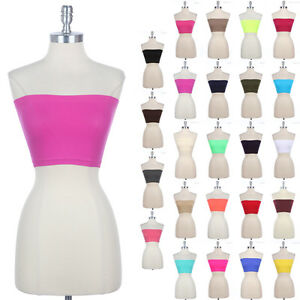 bd0ee2a76b Image is loading Seamless-Spandex-Bandeau-Bra-Cropped-Tube-Top-Strapless-