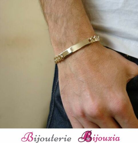 Bracelet Identity Engraving Curb Gold Plated 18 Carat 750//1000