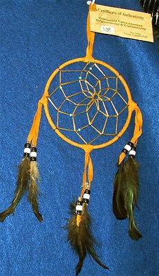 """Native American Indian Dreamcatcher Navajo  5"""" dia hoop Golden Brown #109"""