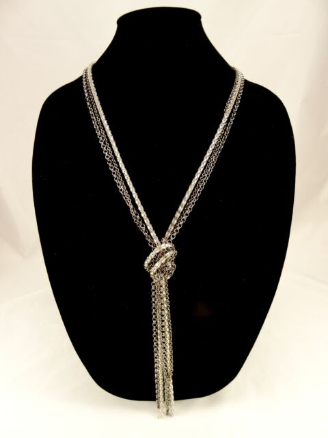New Long Silver & Hematite Colored Metal Knotted Chain Necklace #N2416
