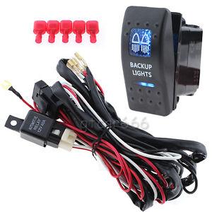 12 24v car rv led backup light rocker on  off switch relay wiring harness kit ebay Auxiliary Backup Lights Wiring car reverse light wiring