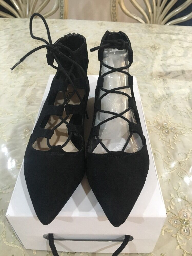 New Bar lll Flats, Black, Lace Up, Lasso, Suede, Size 7