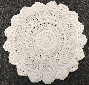 "White 12 Pieces 10"" Handmade Round Crochet Doily Doilies Cup Mat Coaster Wedding"