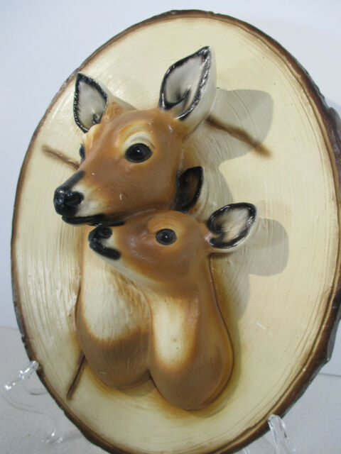 Deer Head Wall Plaque Picture Chalkware Plaster Doe Fawn Vtg 1950 Cabin Decor
