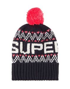 e99602f1afd Image is loading Superdry-Unisex-Superdry-Chevron-Beanie-Hat-Navy-Blue-