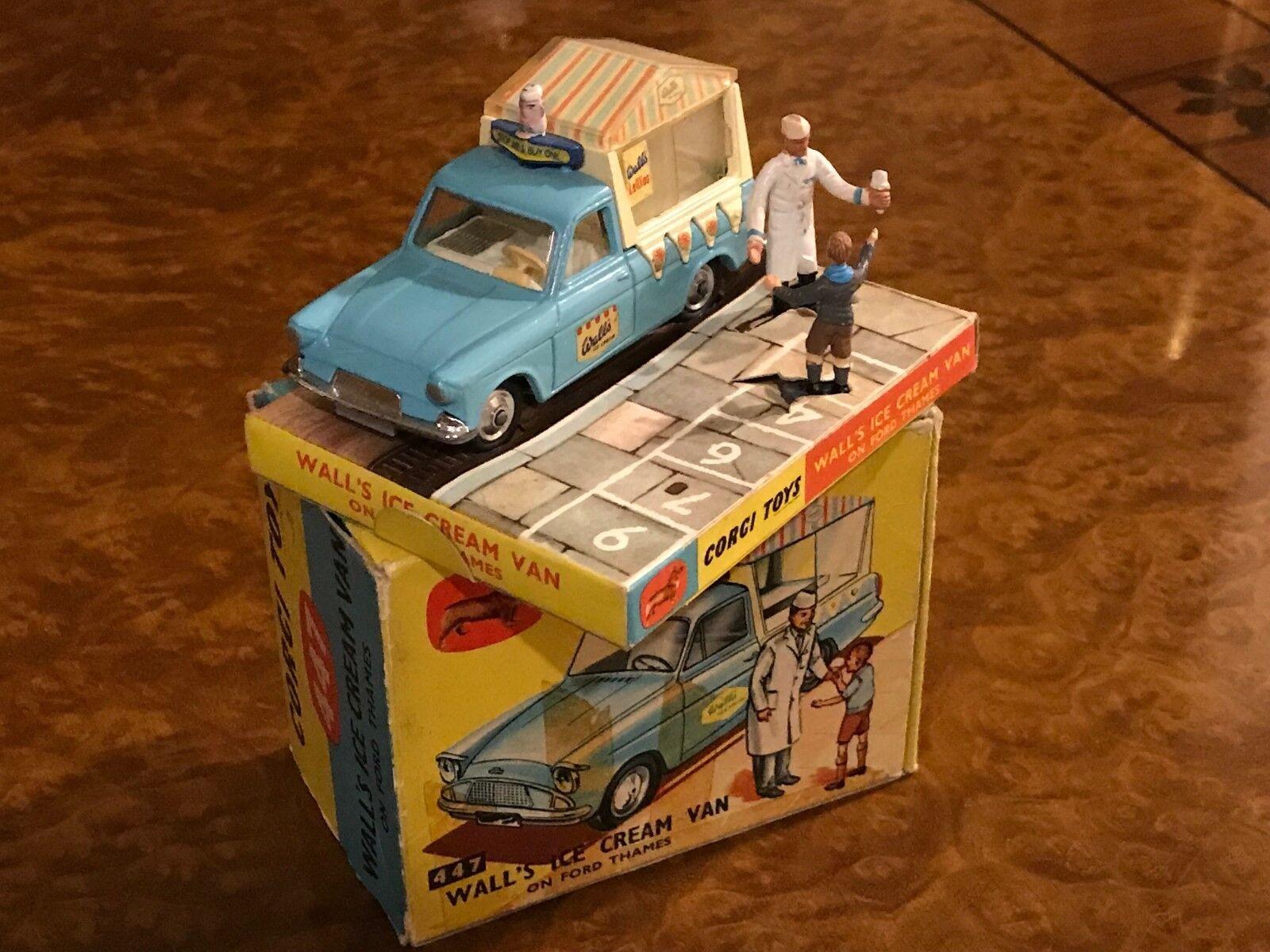 Vintage Corgi Toys Ford Thames Walls Ice Cream Van w  2 Figurines No. 447