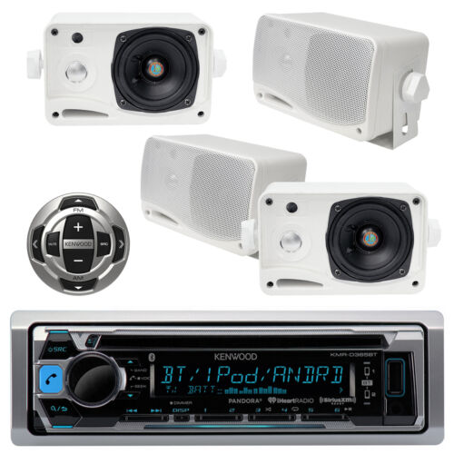 New KMRD356 Boat Yacht Radio USB iPod iPhone Receiver KCARC35MR and 4 Speakers