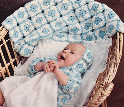 EASY GRANNY SQUARE / afghan,jacket & bonnet - COPY Baby crochet pattern