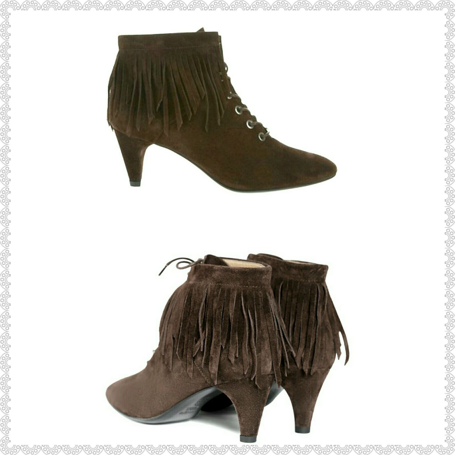 New display  580 Maje Fox Ankle Boot Fringed Suede Leather Size 36 NWOB Granny