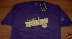 LSU-Louisianna-State-University-Tigers-T-Shirt-XL-Purple-Reebok-NCAA-New