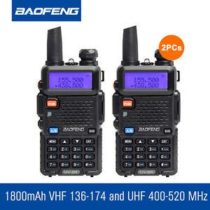 2-Pcs-Baofeng-UV-5R-5W-Walkie-Talkie-FM-UHF-VHF-1800mAh-PMR446-Ham-Two-way-Radio