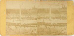 Francia Parigi Place Da La Concorde, Foto Stereo Vintage Albumina PL62L7