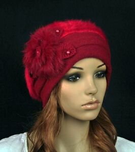 JM39 Rabbit Fur /& Wool Lady Winter Hat Beanie Cap Cute Pearls Flower Wine-red NR