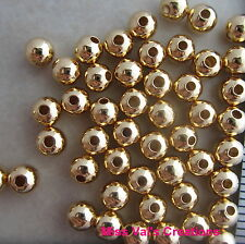 100 gold plated brass round jewelry beads 4mm