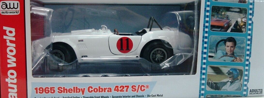 WHITE 1965 FORD SHELBY COBRA 427 S C AUTO WORLD 1 18 SCALE DIECAST MODEL CAR