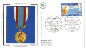 3072+FDC ENVELOPPE 1er JOUR SUR SOIE HOMMAGE AUX COMBATTANTS FRANCAIS EN AFRIQUE