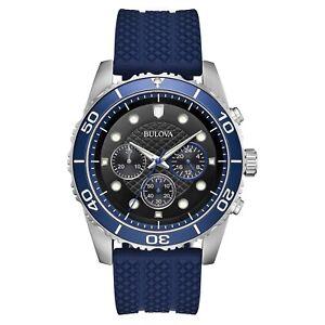 Bulova-Sport-Men-039-s-Quartz-Chronograph-Black-Dial-Blue-Band-43mm-Watch-98A190