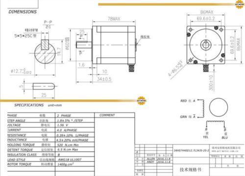 De Free 2pcs nema 34 motor PAP 34hs7440d12.7l34j5-25-2 78mm 740oz 4a φ12.7mm