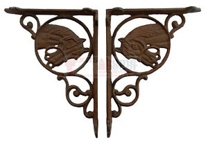 2-Western-Horse-Head-Cast-Iron-Brackets-Rustic-Brown-Finish-Antique-Style-Brace