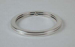 Sterling-Silver-Flat-Wire-Split-Ring-Key-Ring-28mm-Made-in-USA-Free-US-Shipping