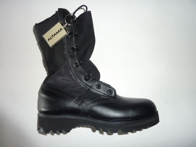 New Altama Black Leather Cordura Military Combat Boots Hot Weather, Made in USA