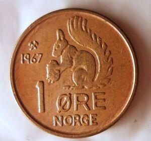 FREE SHIPPING Norway Bin #5 SQUIRREL COIN 1967 NORWAY ORE High Grade