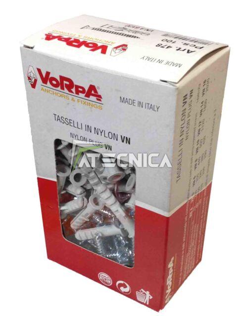 Vorpa 50pz Clavijas Fischer 8mm de Nailon + Vid Tsp + 5X50