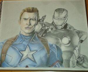 Original 14x17 Color Pencil Drawing Of Captain America Iron Man