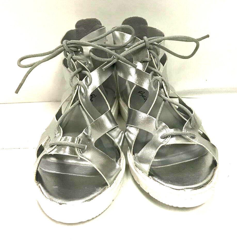Qupid Women's Sandals Lanski 01, Silver Met PU, US 7