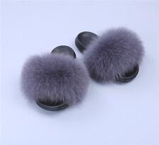 91e374e6929e Brand New Flat Women Real Fox Raccoon Fur Sliders Slippers Indoor Outdoor  Shoes