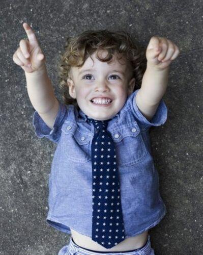 Stinky McGee Holiday Blue Stars Tie Little Boys Toddler Wedding School NeckTie