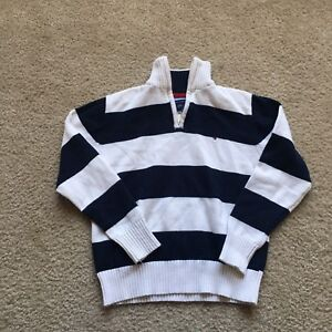 b57f01de Vintage 90s Kids Tommy Hilfiger Flag Red White Blue Striped Half Zip ...