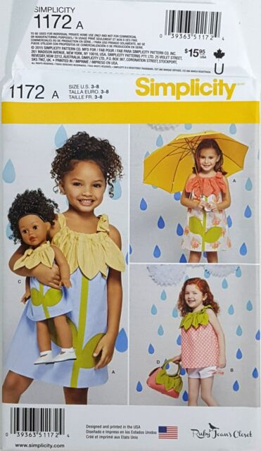 Simplicity Pattern 1172 Girl 18 Doll Pillowcase Dresses Top Shorts