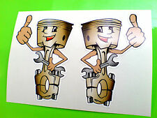 JOLLY HAPPY PISTONS (Handed) Car Hot Rod Stickers Decals 1 off pair 70mm
