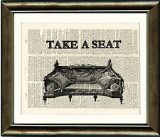 Old Antique Book page Art Print - Take A Seat Dictionary Page Print