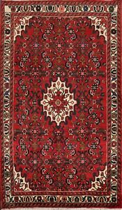Geometric Traditional Hamedan Hand-knotted Area Rug Wool Oriental Carpet 4x6 RED