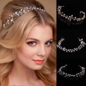 Image Is Loading Wedding Hair Vine Bridal Crystl Pearl Headbands Vintage