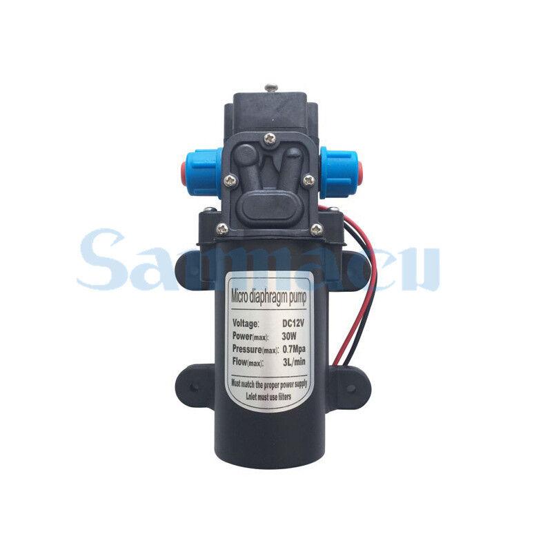 Fit 10mm Hose 12V 30W Diaphragm Water Pump Self-priming Booster Backflow 180L/H