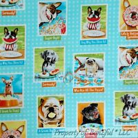 BonEful Fabric FQ Cotton Quilt Blue B&W Dog Puppy Block Small Breed Food Pug Dot