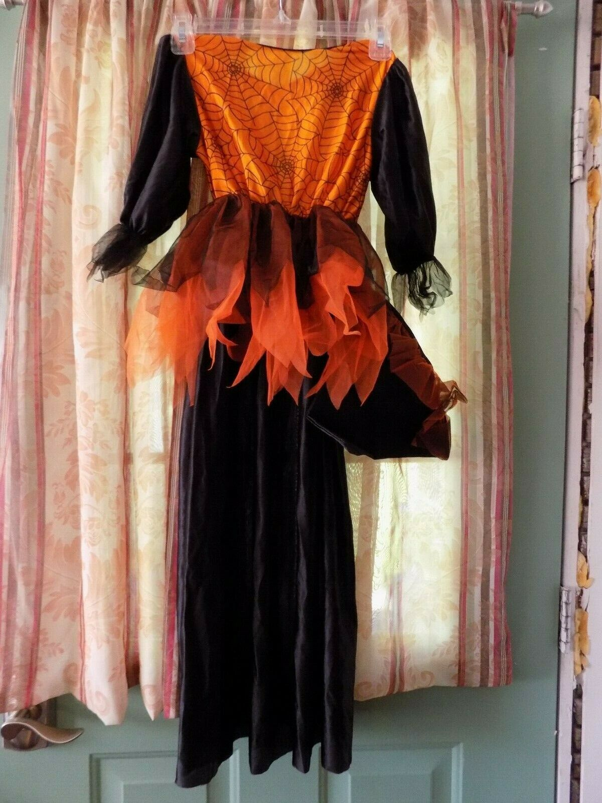 Child's Spider Witch Costume with hat size 1-4 - orange and black